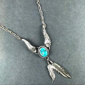 Vintage turquoise sterling feather necklace